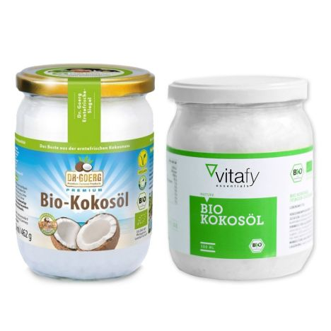 1 x Dr. Goerg Bio-Kokosöl (500ml) + 1 x Vitafy Essentials Bio Kokosöl (500ml)