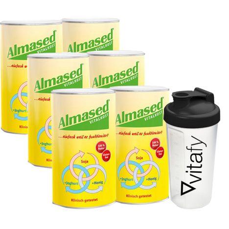 6 x Vitalkost Pulver Almased (6x500g) + Vitafy Shaker (600ml)