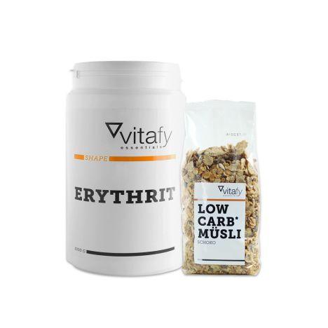 Erythrit (1000g) + Vitafy Essentials Low Carb Müsli (525g)