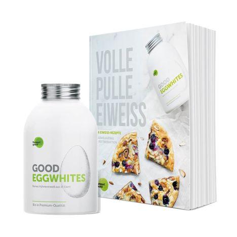 """1 x Good Eggwhites Bio-Eiklar (500ml) + 1 x Rezeptbuch """"Volle Pulle Eiweiß"""""""