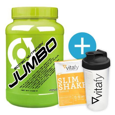 Scitec Nutrition Jumbo (4400g) + Vitafy Essentials Shaker (600ml) & Diät Slim Shake Vanille (50g) gratis