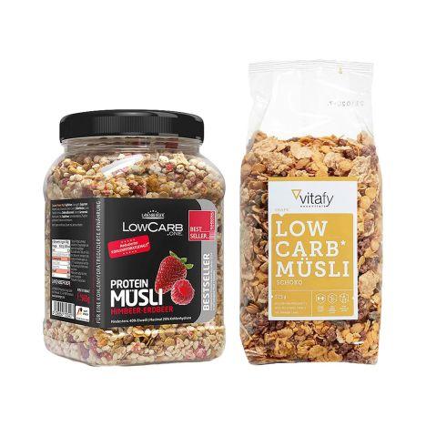 1 x Layenberger LowCarb.one Protein Müsli (550g) + 1 x Vitafy Essentials Low Carb Müsli im Beutel (525g)
