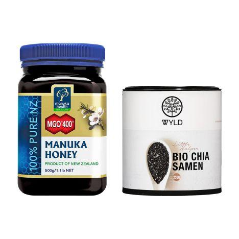 Manuka-Honig MGO 400+ (500g) Vitafy Essentials Chia Samen (1000g)