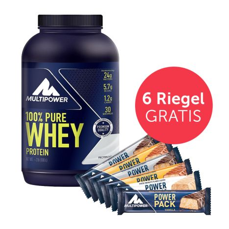 1 x 100% Pure Whey Protein (900g) + 6 x Power Pack (6x35g) GRATIS