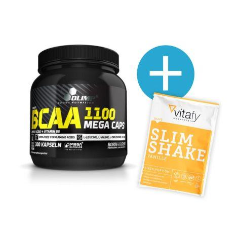 Olimp BCAA Mega Caps 1100 (300 Kapseln) + Vitafy Essentials Diät Slim Shake Vanille (50g) gratis