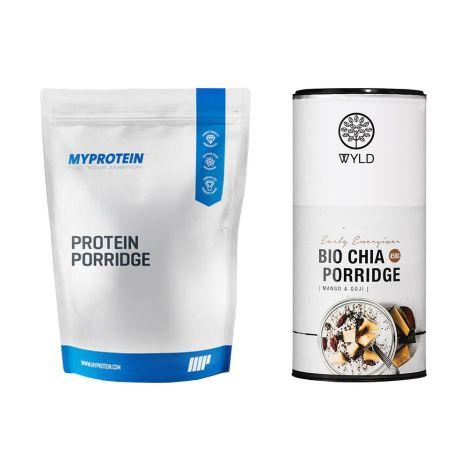 """1 x  MyProtein Protein Porridge (20x50g) + 1 x WYLD Bio Chia Porridge Mango & Goji """"Early Energizer"""" (450g)"""