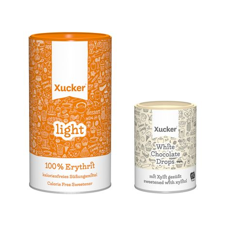 1 x Xucker light europ. Erythrit (1000g) + 1 x weiße Schokodrops mit finnischem Xylit (200g)
