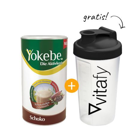 Yokebe Aktivkost Schoko Pulver (500g) + GRATIS Vitafy Shaker (600ml)
