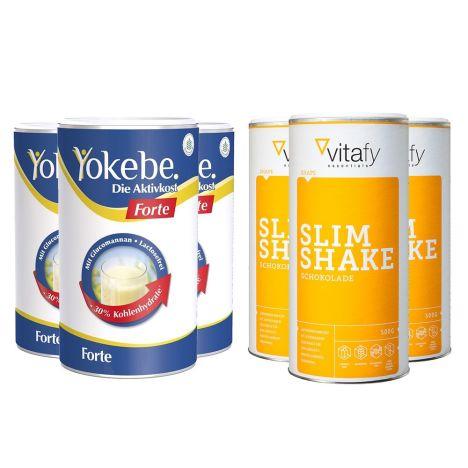 3 x Yokebe Forte (500g) + 3 x Vitafy Essentials Slim Shake (3x500g)