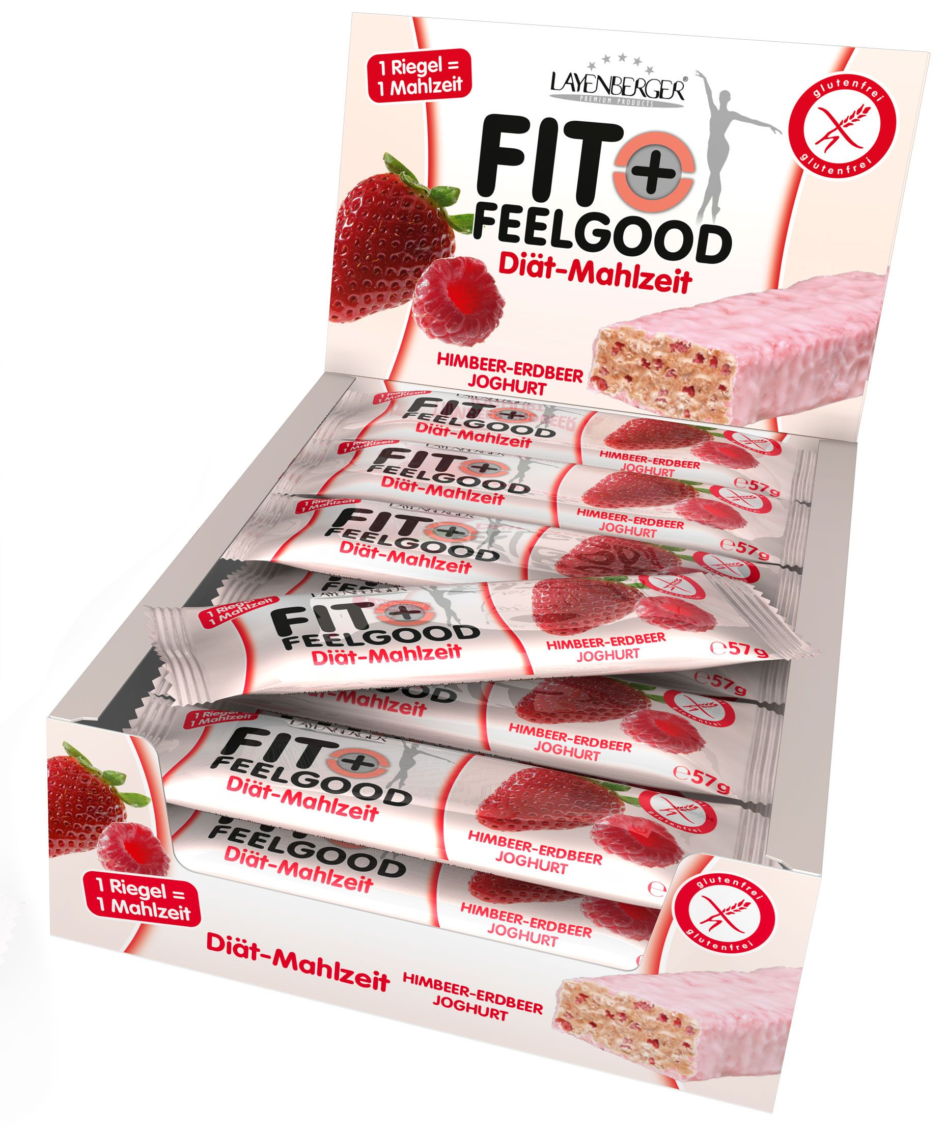 Fit+Feelgood Riegel - 15x57g - Himbeer-Erdbeer-Joghurt