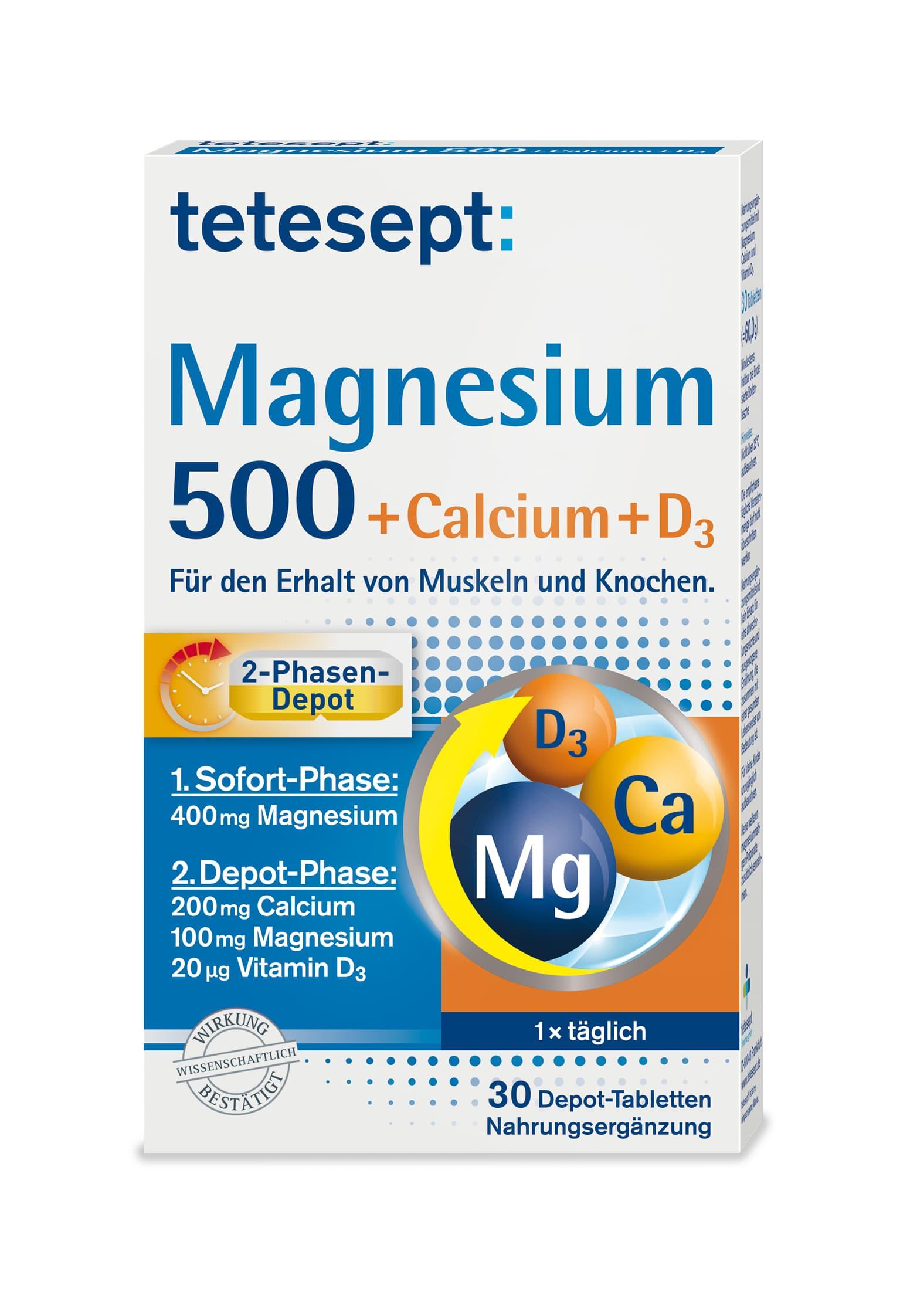 Magnesium 500 + Calcium + D3 (30 Tabletten)