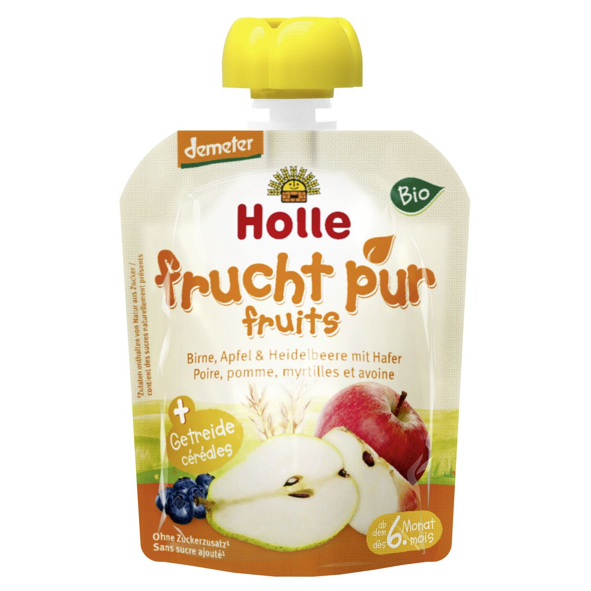 Bio-Pouchy Birne, Apfel & Heidelbeere mit Hafer, ab dem 6. Monat (90g)