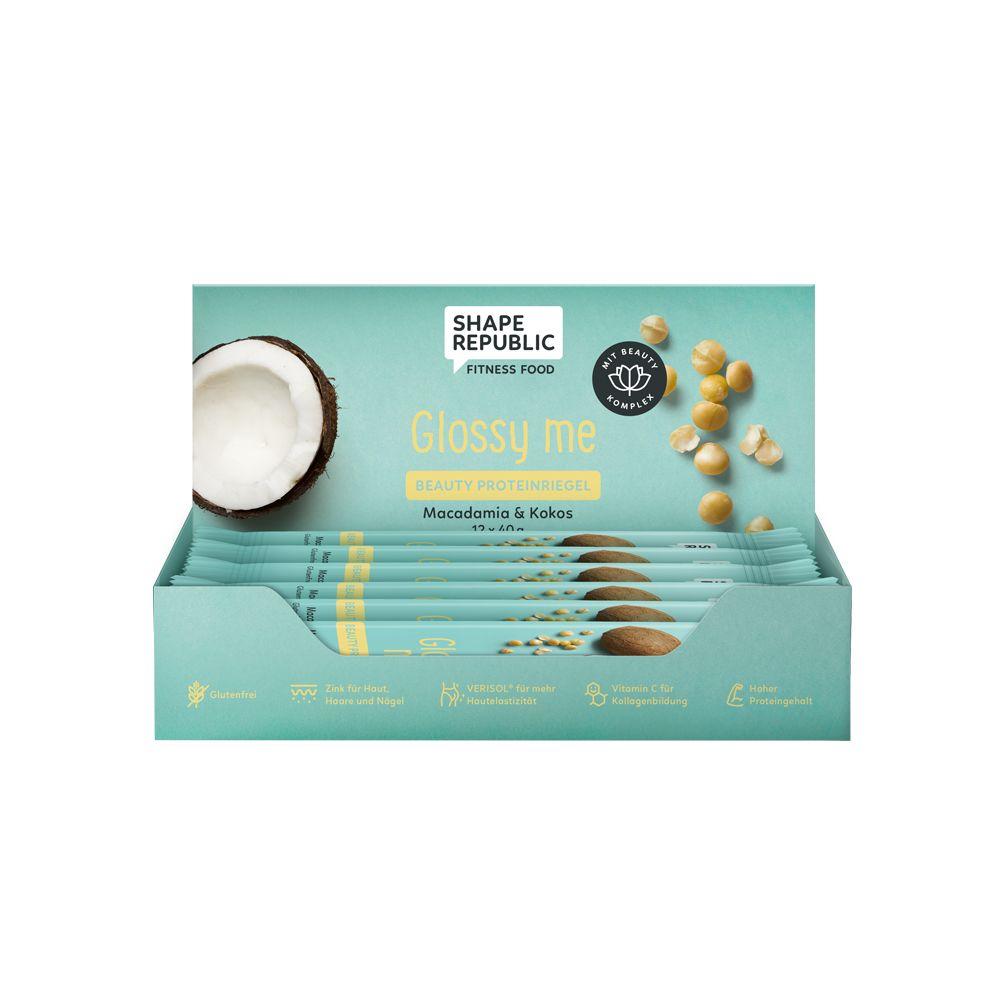 Beauty Proteinriegel Macadamia & Kokos »Glossy me« (12x40g)