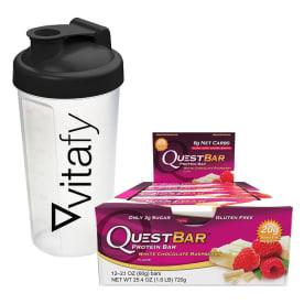 Quest Bar (12x60g) + Vitafy Shaker (600ml)