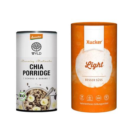 """Demeter Chia Porridge Schoko & Banane """"Morning Motivator"""" (350g) + Xucker light europ. Erythrit (1000g)"""