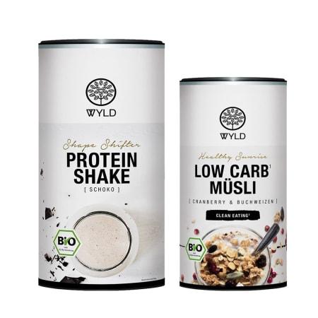 "Bio Low Carb Müsli Cranberry & Buchweizen ""Healthy Sunrise"" (350g) + Bio Protein Shape Shifter (450g)"