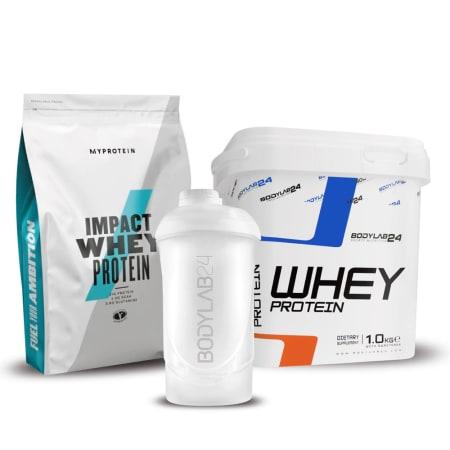 Impact Whey Protein Schokolade-Karamell (1000g) + BL24 Whey Protein (1000g) + BL24 Shaker