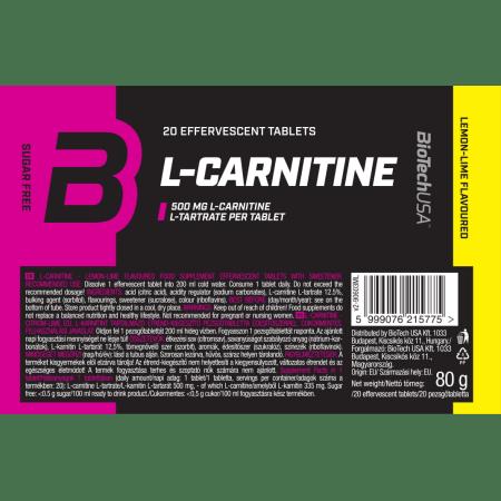 Effervescent L-Carnitine 500mg Zitrone-Limone (20 Tabletten)