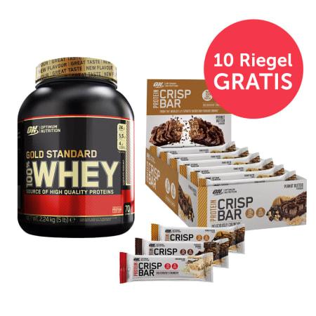100% Whey Gold Standard (2273g) + Protein Crisp Bars (10x65g)