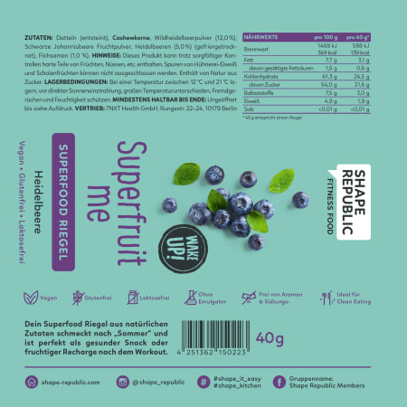 Superfood Riegel Heidelbeere »Superfruit Me« (40g)