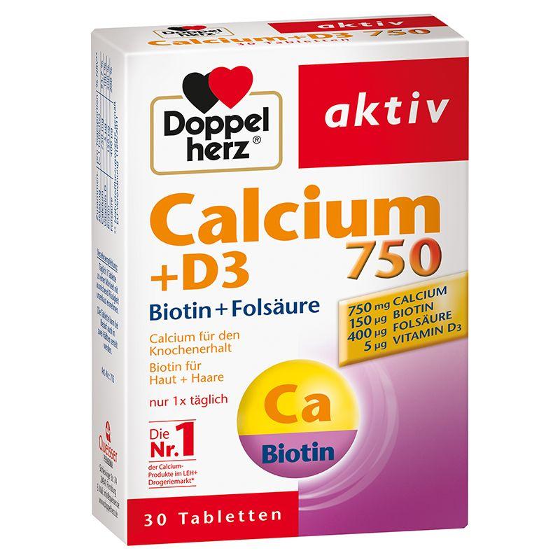Calcium 750 + D3 + Biotin (30 Tabletten)