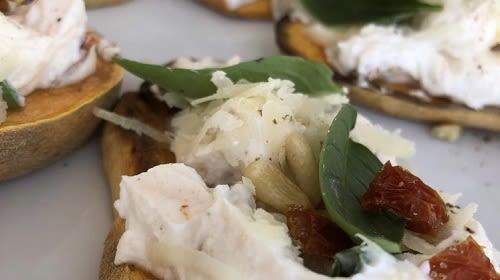 Süßkartoffeltoast mit Quark-Aufstrich - italienischer Art