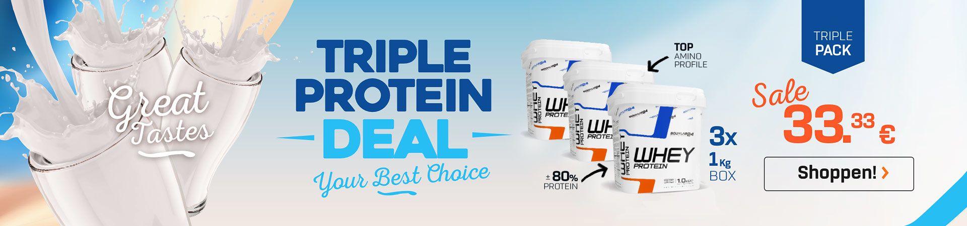 3 Gläser mit weißem Protein-Shakes mit drei Dosen Whey Protein von Bodylab24 und dem Verweis auf den 3er Spar Deal und den 33,33€ Preis