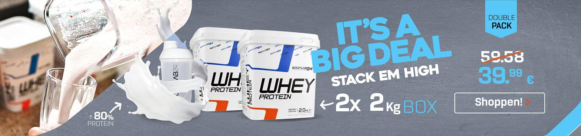 4 Kilo Bodylab24 Whey für 39,99€ - Boxen mit Shake im Glas