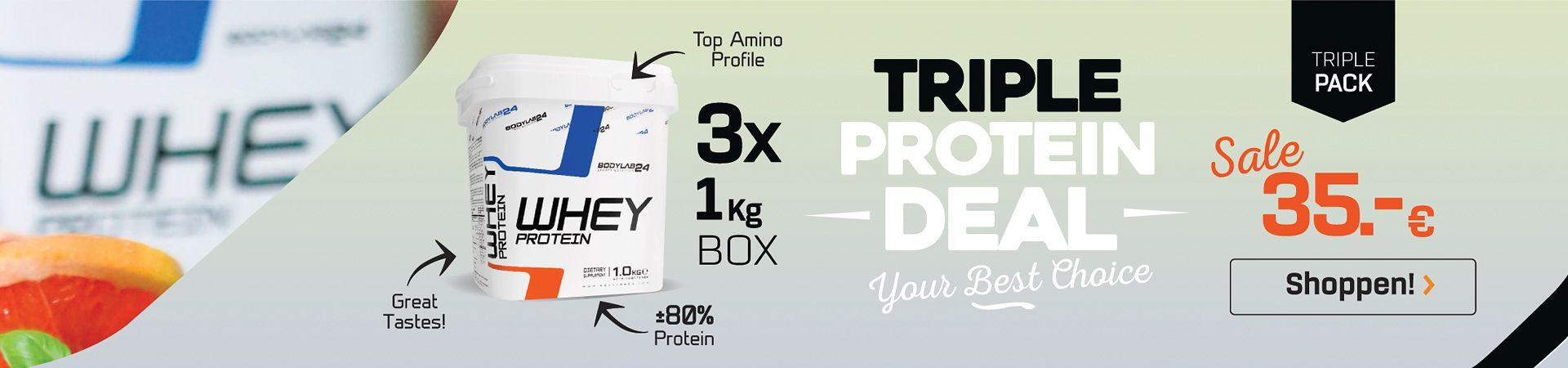 3kg Whey Protein van Bodylab24 voor een lichtgrijs achtergrond - links een Wei-eiwitblikje