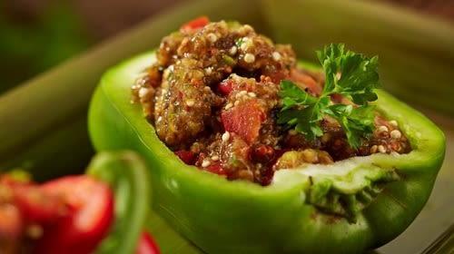 Chai chili vulling in groene paprika (veganistisch)