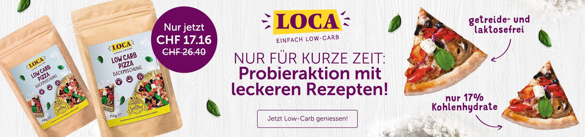 LOCA Low Carb Pizzabachmischung und Pizzadekoration.