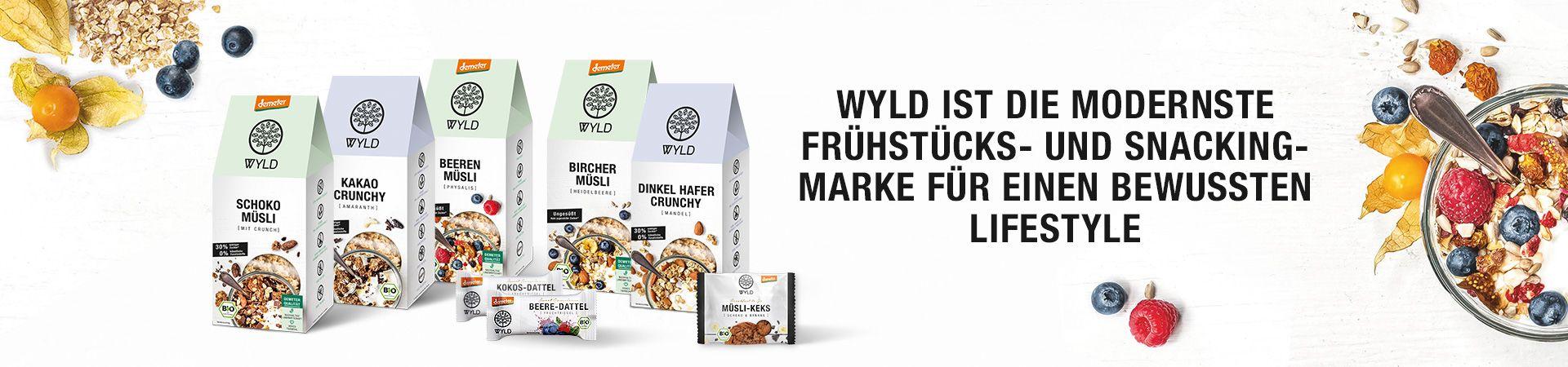 Das Banner zeigt das WYLD Sortiment in neuem Design