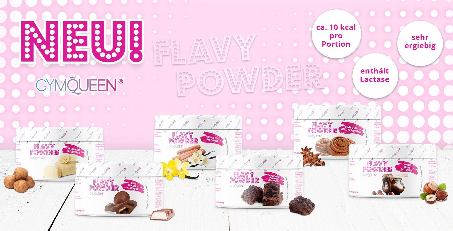Das Banner zeigt die neuen Flavy Powder Geschmacksrichtungen.