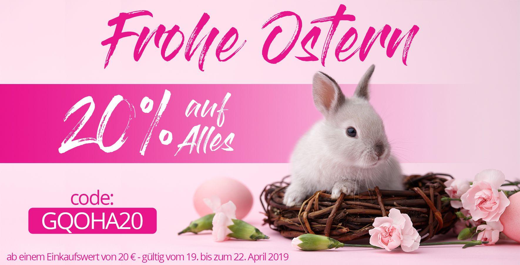 Zu Feiertagen spielen wir Osterhase und schenken dir 20% Rabatt auf alle Produkte ab einem Bestellwert von 20 Euro.