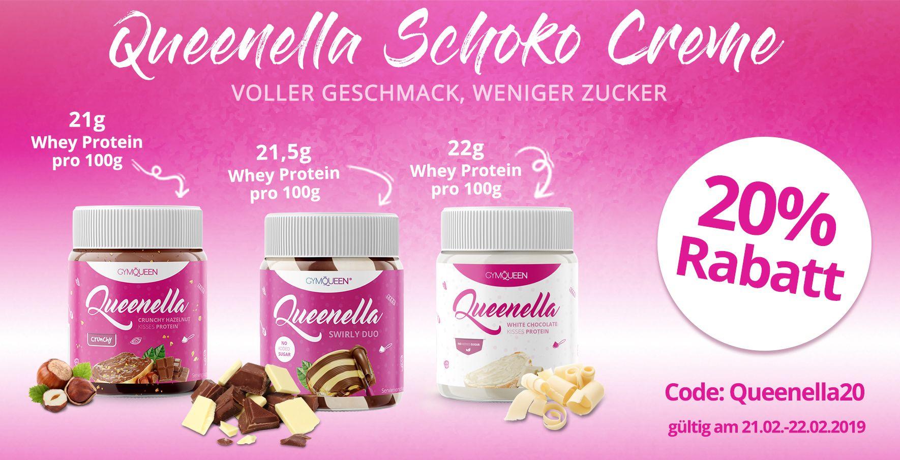 Entdecke die Queenella Schoko Cremes mit vollem Geschmack, aber weniger Zucker. Nur am 21.  und 22. Februar erhältst du auf die Sorten Crunchy Hazelnut, Swirly Duo und White Chocolate 20% Rabatt mit dem Gutscheincode Queenella20.