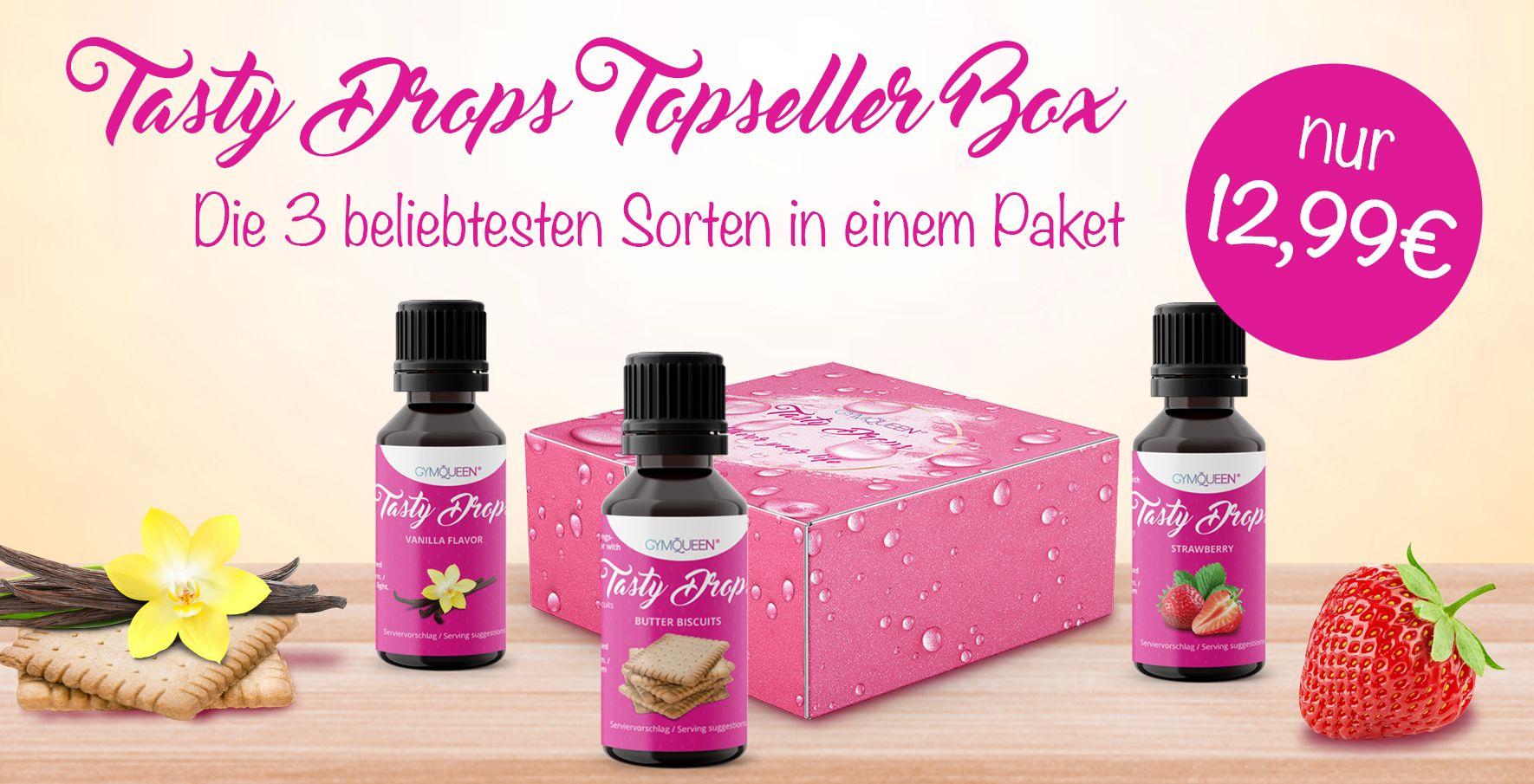 Auf dem Banner seht ihr die neue Tasty Drops Topseller Box mit den drei beliebtesten Tasty Drops Geschmacksrichtungen für insgesamt nur 12,99 Euro.