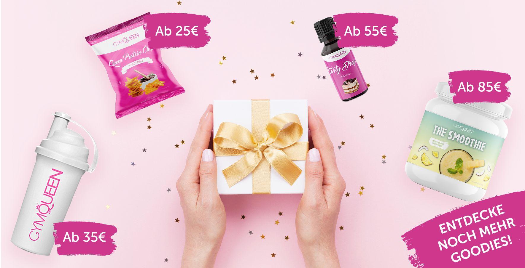Der Banner zeigt, welche Produkte du ab welchem Einkaufswert kostenlos in deinem Warenkorb hinzufügen kannst. Bereits ab 25 Euro kannst du dir ein Gratis Goodie sichern.