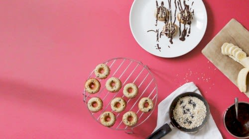 Schoko Bananen Protein Donuts