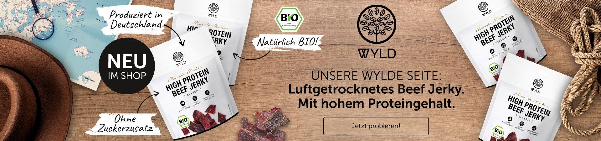 WYLD Beef Jerky in Bio-Qualität. Ohne Zuckerzusatz. Produziert in Deutschland. Mit hohem Proteingehalt.