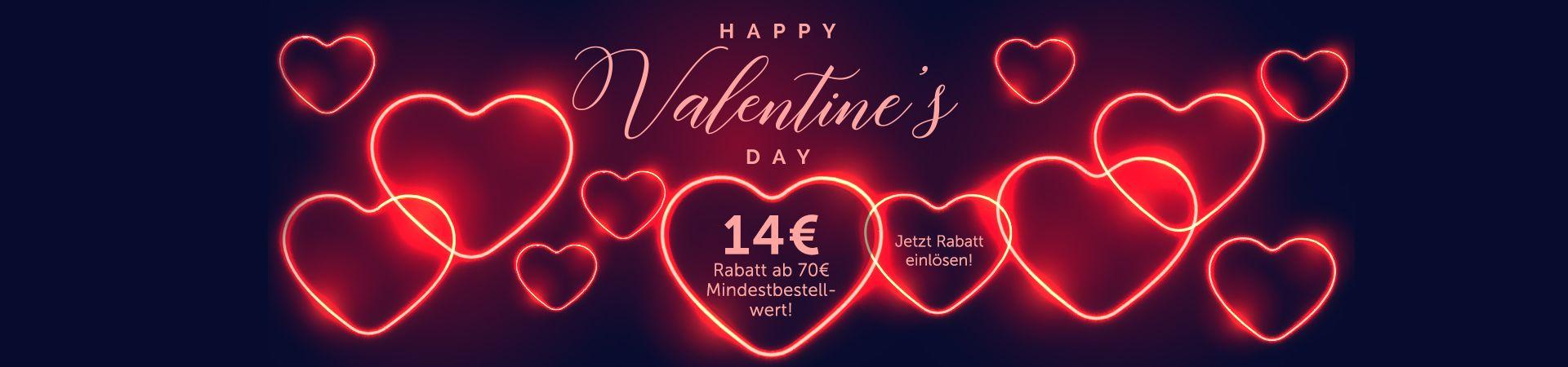 Spare bei der aktuellen Valentinstagsaktion 14€ ab 70€ Mindestbestellwert.