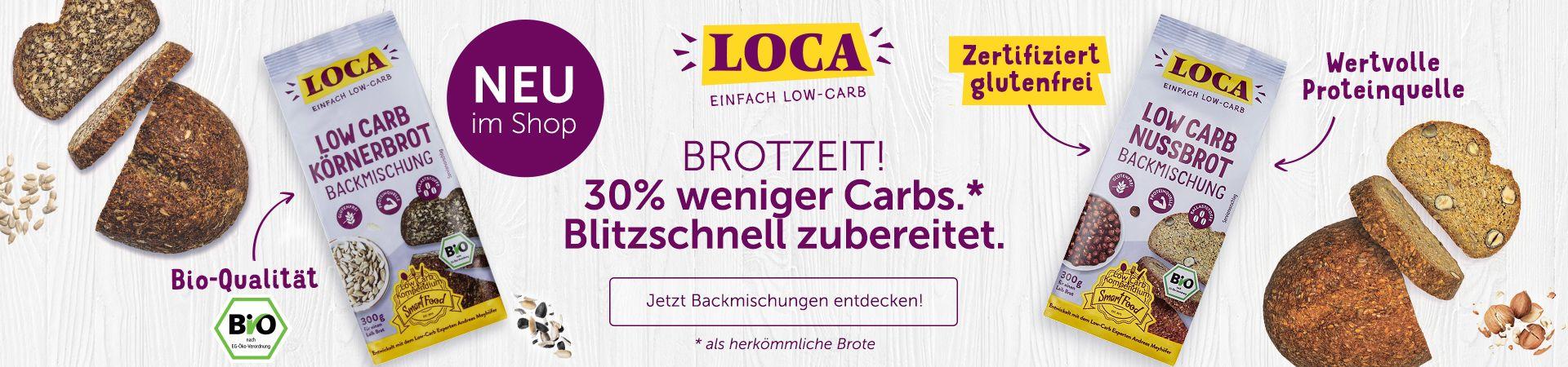 LOCA Brotbackmischungen, Nussbrot, Körnerbrot, 30% weniger Carbs, Low Carb.