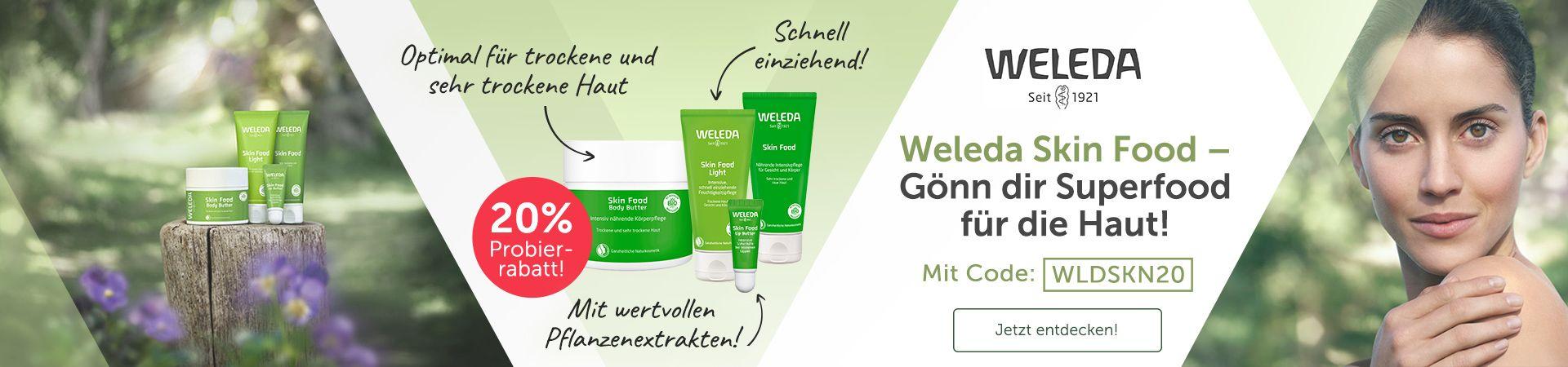 Weleda Skin Food Produkte, Gesunde Frau mit frischer Haut.