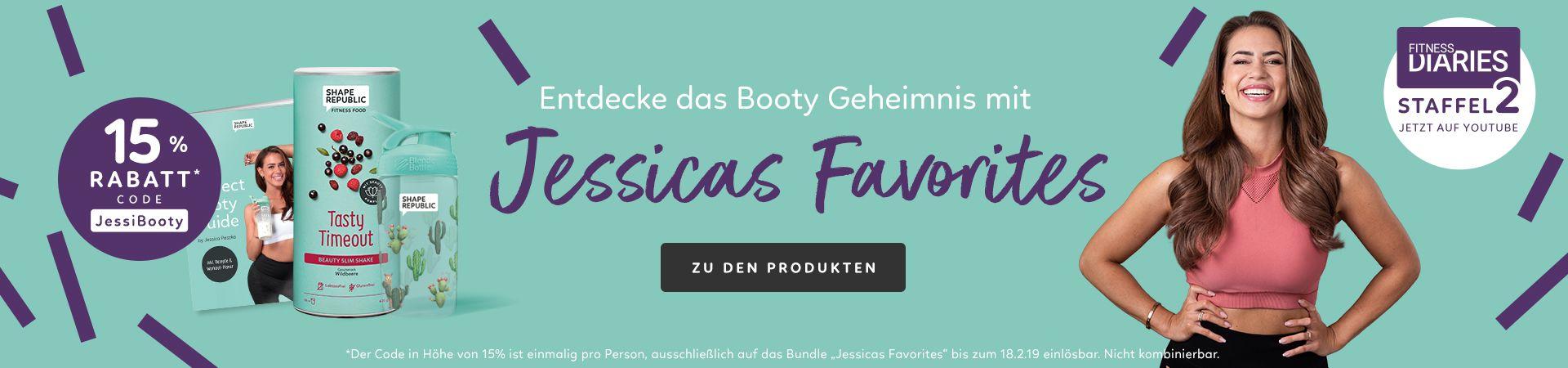 Entdecke das Booty Geheimnis mit Jessicas Favorites. Mit dem Gutscheincode JessiBooty erhältst du 15% Rabatt auf das Paket zur 2. Staffel Fitness Diaries auf Youtube.