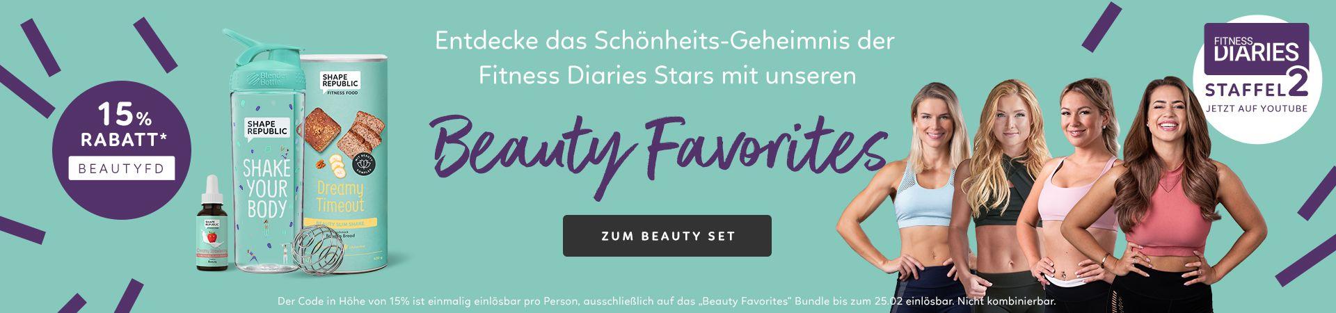 Entdecke das Schönheits-Geheimnis der Fitness Diaries Stars mit unseren Beauty Favorites! Für das Beauty Favorites Set erhältst du bis zum 25.02. 15% Rabatt mit dem Gutscheincode BEAUTYFD.