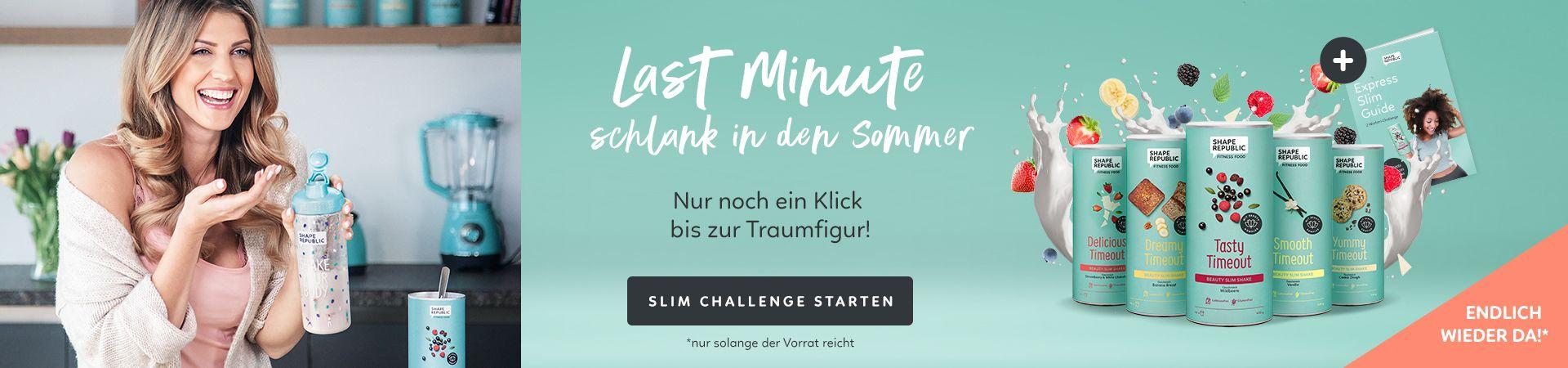 Influencerin Sarah Harrison präsentiert die Last Minute schlank in den Sommer Challenge von Shape Republic.