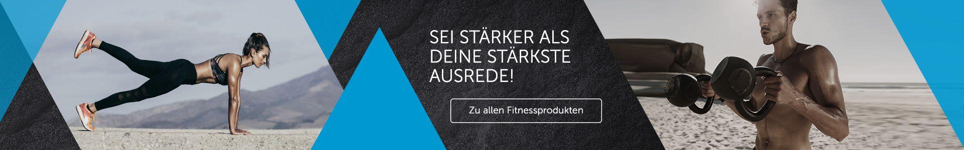 Das Banner zeigt einen sportlichen Lifestyle. Klicke auf das Banner um zu allen Produkten der Kategorie Fitness zu gelangen!