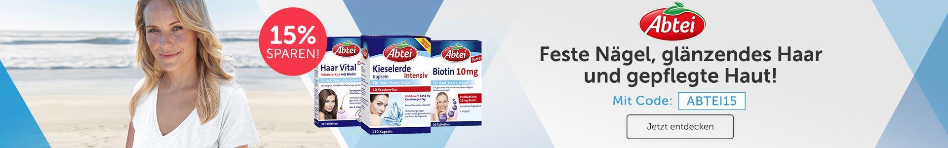 Abtei Produkte: Haar Vital, Kieselerde Intensiv, Biotin. Für feste Nägel, glänzendes Haar und gepflegte Haut!