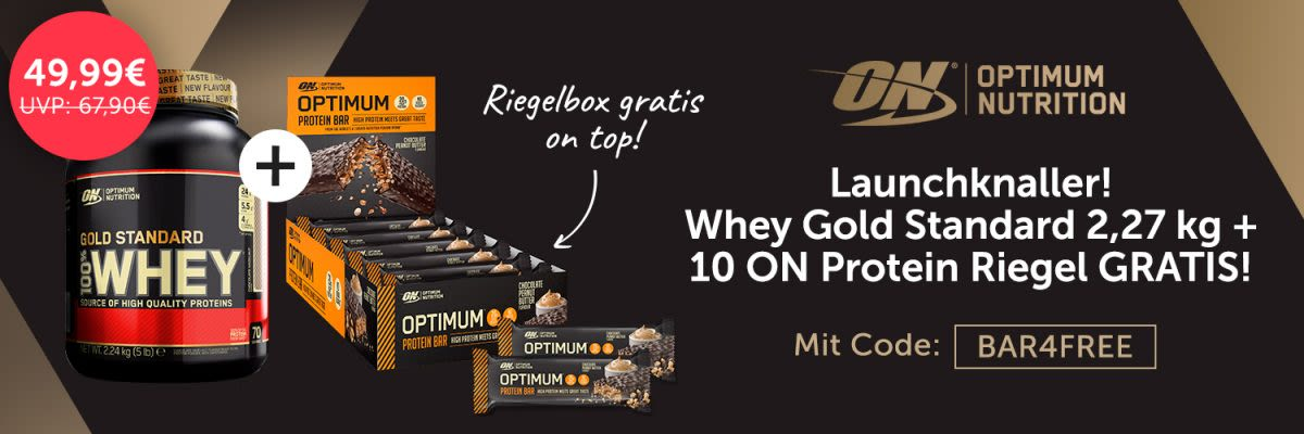 Optimum Nutrition Bundle Whey Gold Standard + 10 ON Protein Riegel gratis