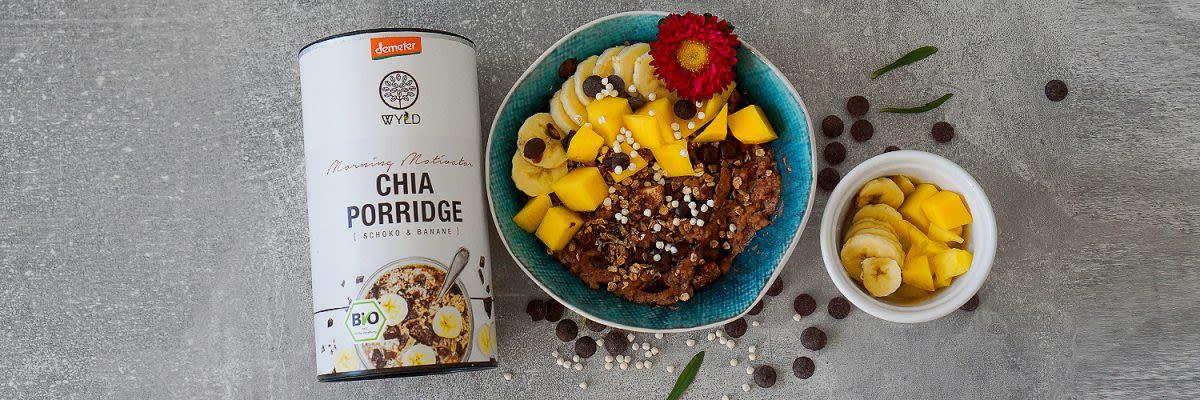 Chia Porridge mit Banane und Mango