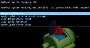 Форматирование Android через Recovery Menu